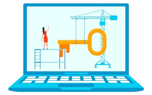 Сайт под строительство концепция flat иллюстрации