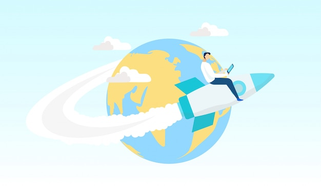 Мультфильм человек летит на ракете вокруг мира flat.
