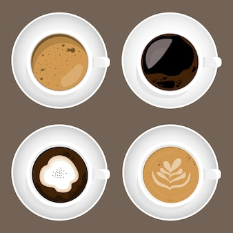 Flatlay design for coffee cup set isolated on white background