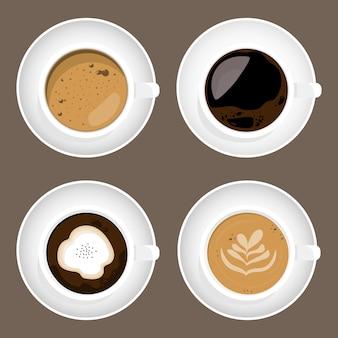 白い背景で隔離のコーヒーカップセットのFlatlayデザイン