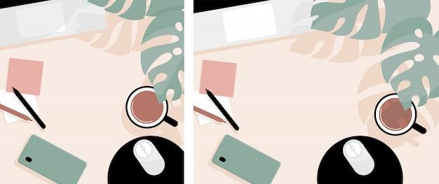 노트북, 스마트 폰, 커피 한잔과 몬스 테라 잎 flatlay