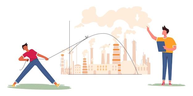 Flatten the curve of gas emission illustration