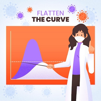 Flatten the curve on graphic illustrated