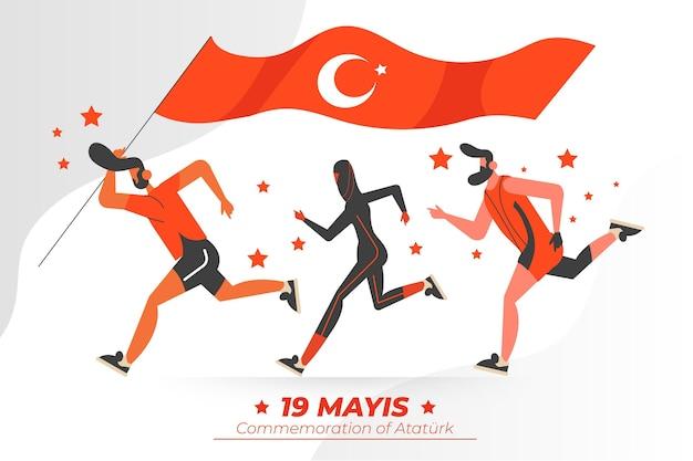 아타튀르크, 청소년 및 스포츠 데이 일러스트레이션의 flatturkish 기념