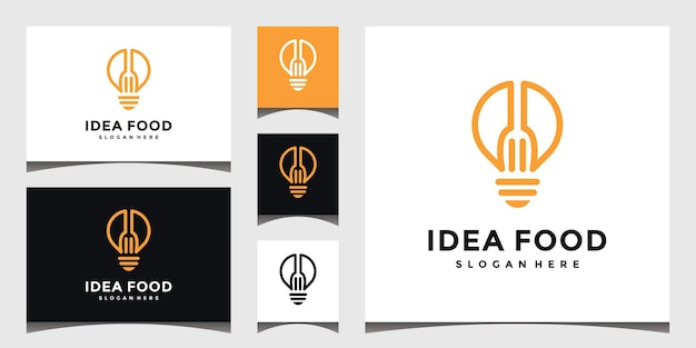 Flatware, light bulb, restaurant logo, concept illustration.