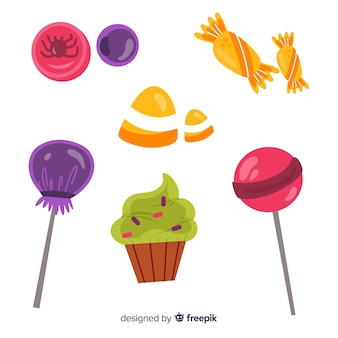 Flavorful candies for halloween night on white background