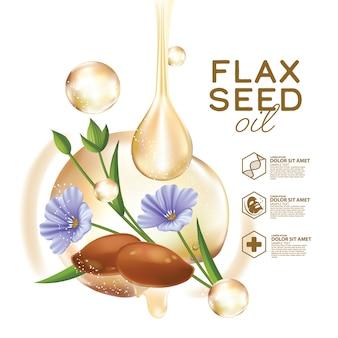 Масло семян льна с цветами