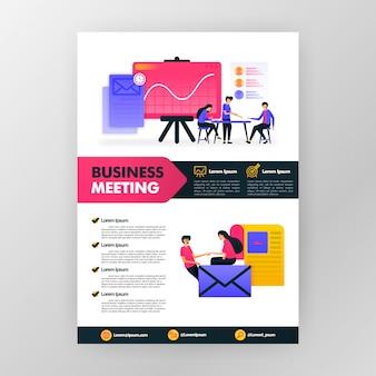 Плакат деловой встречи с плоской иллюстрацией шаржа. брошюра бизнес-буклета flayer