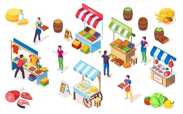 Прилавки блошиного рынка или прилавок базара, витрина на рынке с навесом
