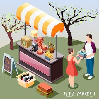 Flea market isometric background
