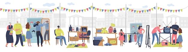 벼룩 시장. 복고풍 상품을 판매하는 쇼핑하는 사람들은 세련된 옷을 교환하고 바자를 만납니다. 저렴한 차고 판매, 중고 상점, 야외 소매업. 평면 벡터 만화 개념