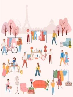 ウォーキングストリートで売ったり買い物をしたりする人々のフリーマーケットのポスター、パリの背景にある古着やアクセサリーの店、漫画のフラットなデザイン