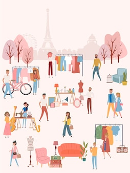 Flea market poster with people selling and shopping at walking street, vintage clothes and accessories shop on paris background, cartoon flat design