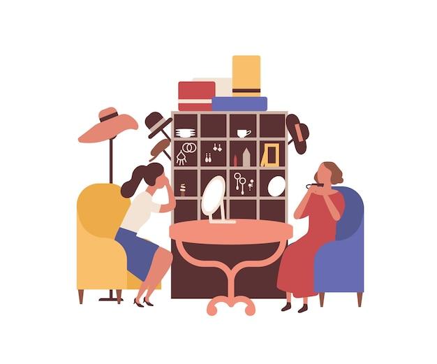 벼룩 시장, 헝겊 공정한 평면 벡터 일러스트 레이 션. 여성 액세서리 판매자와 고객의 얼굴 없는 캐릭터. 저렴한 물건, 오래된 장식품 구매. 교환 모임, 자선 상점, 보석 부티크.