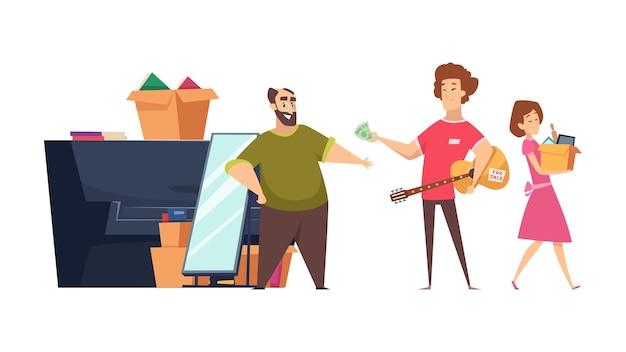 Flea market sale. seller and buyers, man woman buying things on garage sale. neighborhoods trade vector illustration. flea market, outdoor buyer