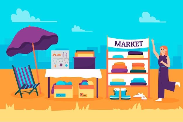 Блошиный рынок, где продаются товары на открытом воздухе
