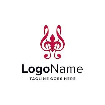 Fleur de lis and music notes simple sleek creative geometric modern logo design
