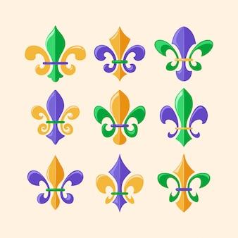 Fleur de lis or royal lily symbol collection