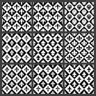 フルールドリスのシームレスなパターンセット。