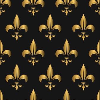 シームレスな金色のfleur de lisパターン