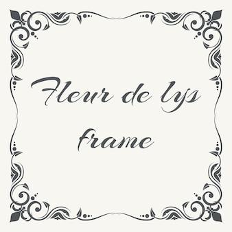 Fleur de lys ornate frame white background