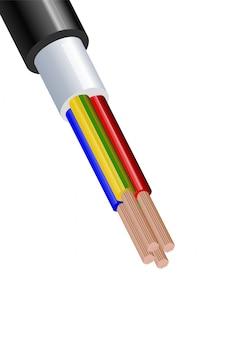 白い背景に分離された柔軟な4線電気銅ケーブル。ダブルカラー絶縁の銅多芯ケーブル。断面の拡大図。電源ワイヤー。
