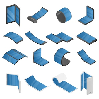 Flexible display icons set, isometric style