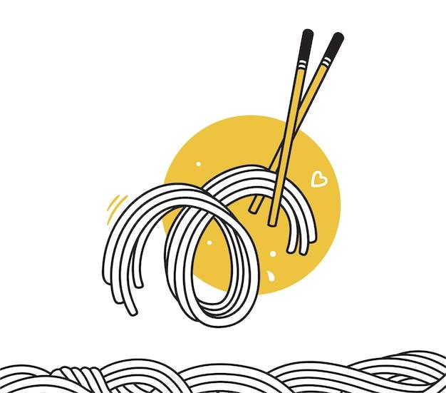 Гибкие нарисованные лапши каракули с палочками для еды