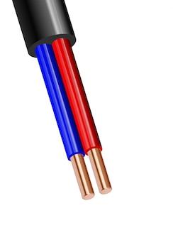 白い背景に分離された柔軟な2線電気銅ケーブル。