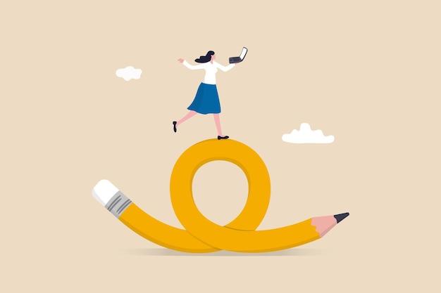 柔軟な仕事、いつでもどこでもリモートワーク、生産性と創造性の概念のために時間と場所を選択する従業員の選択、陽気な女性はフレックスベンドペンシルでコンピューターのラップトップでの作業を楽しんでいます。