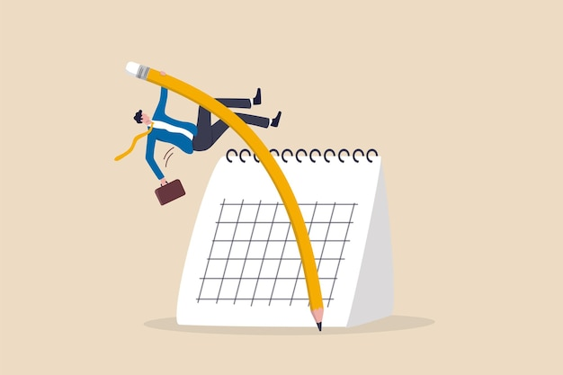 기한 또는 프로젝트 일정 어려움, 프로젝트 관리 또는 시간표 개념을 극복하기 위한 유연한 작업 일정 또는 도전, 달력을 뛰어넘는 연필 장대 높이뛰기를 사용하는 자신감 있는 사업가.