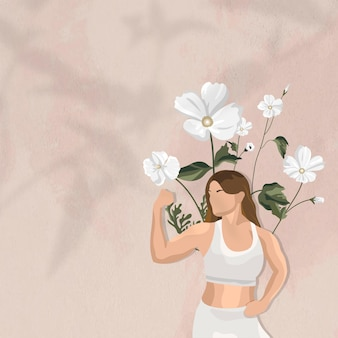 花のヨガの女性のイラストと筋肉の境界線ベクトルの背景を曲げる