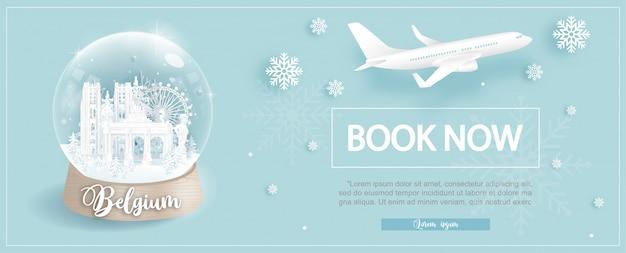 Шаблон рекламы авиабилетов и авиабилетов с поездкой в бельгию