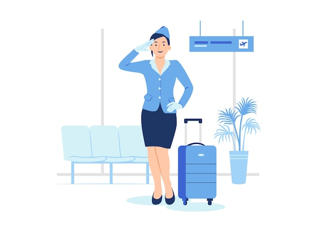Flight attendant air hostess standing with her luggage in airport terminal ready for a flight concept illustration