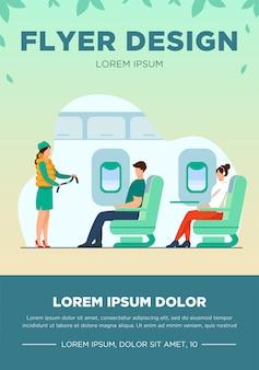 安全上の注意を説明する客室乗務員。乗客、飛行機、ベルトフラットベクトルイラスト。バナー、ウェブサイトのデザインまたはランディングウェブページの旅行と休暇のコンセプト