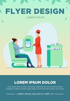 Flight attendant giving water to female passenger. service, airplane, beverage flat vector illustration. travelling and vacation concept for banner, website design or landing web page
