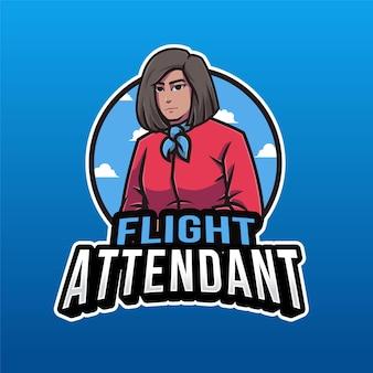 青で分離された客室乗務員のロゴのテンプレート