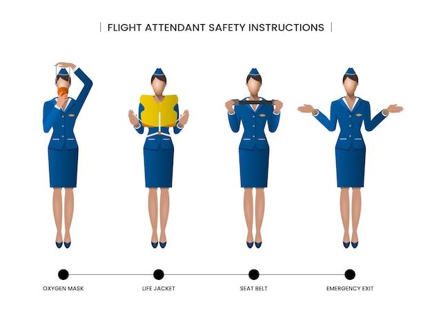客室乗務員の安全上の注意