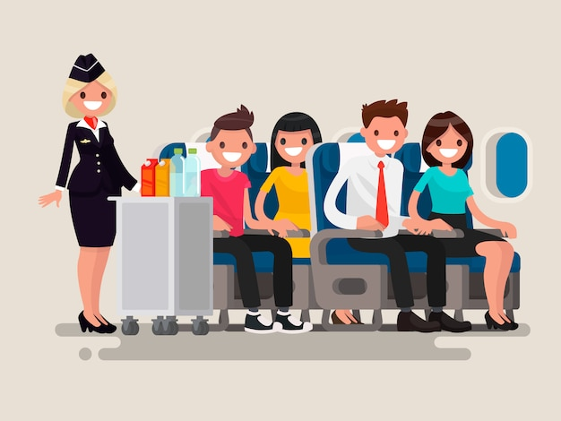 Flight attendant serving drinks to passengers on board of the aircraft.