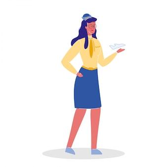Flight attendant in uniform vector illustration