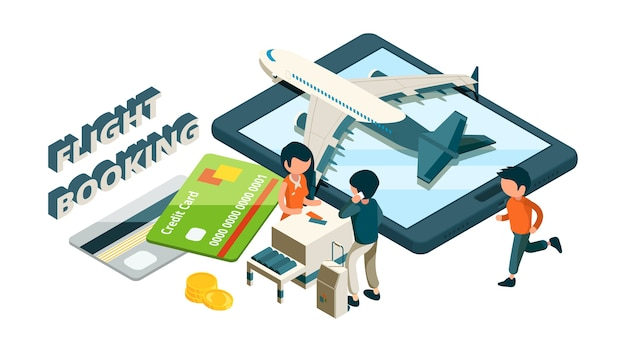 Flight booking. buying tickets online isometric concept, front desk passengers plane credit cards. illustration check aircraft to booking flight
