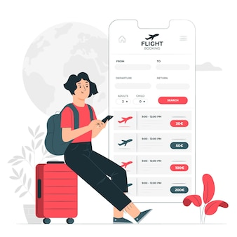 Flight booking concept illustration