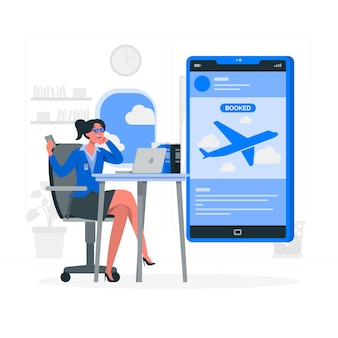Illustrazione di concetto di prenotazione di volo