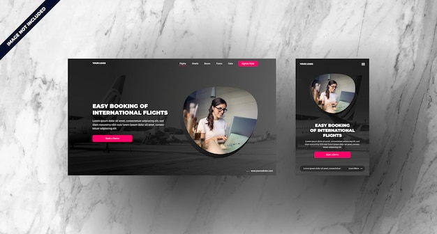 Flight booking landing page with mobile responsive design