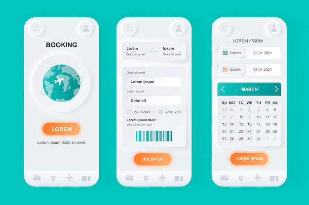 항공편 예약 현대 뉴 모픽 디자인 ui 모바일 앱