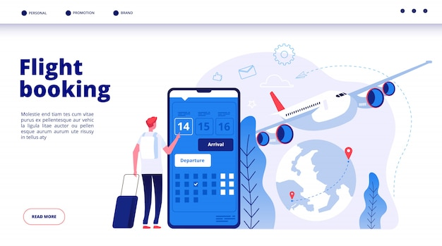 Flight booking. online budget travel booking in internet plane flights reservation vacation holiday  travelling service concept