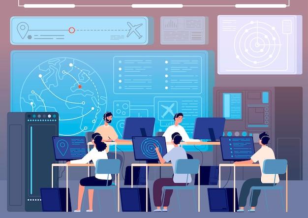 Flight control center. airport command room, fly track controlling. operators surveillance international transportation vector illustration. flight control center, technology space room