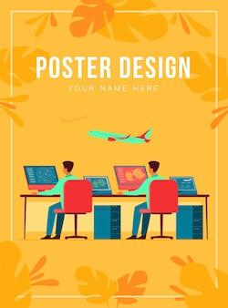 비행 제어 센터 절연 평면 그림입니다. 비행 트랙 제어를위한 만화 공항 명령 실 또는 타워. 국제 운송 및 주말 개념