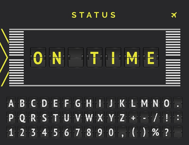공항 활주로 마크 업 스타일의 항공편 출발 상태. 벡터 플립 글꼴은 비행이 정시에 도착한다고 발표합니다.
