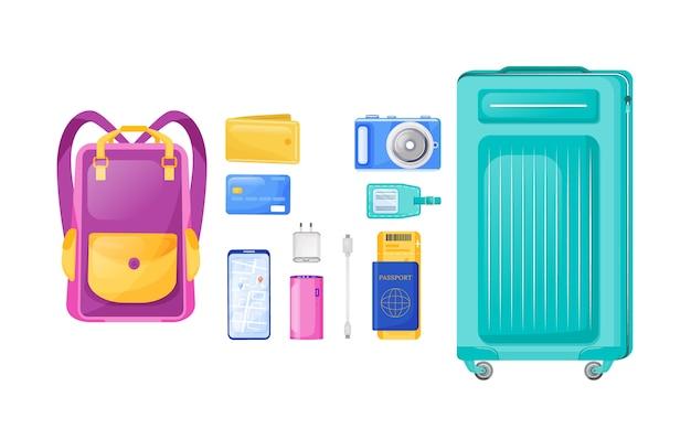 フライトエッセンシャルフラットカラーオブジェクトセット。バックパックとキャリーバッグ。旅のアイテム。休暇のチェックリスト。白い背景の上の旅行機器の2d分離漫画イラストが必要です